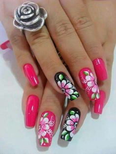 Perfect Colorful Floral Nail Design – 14 It's your turn to have great nails! Check out this year's most … Neon Nails, Pink Nails, My Nails, Fabulous Nails, Gorgeous Nails, Cute Nails, Pretty Nails, Simple Acrylic Nails, Spring Nail Art