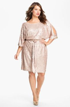 ca0317bf855a95 Jessica Simpson Split Sleeve Sequin Blouson Dress (Plus)