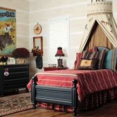 In this wild west themed bedroom courtesy of Posh Tots, the teepee bed canopy takes center stage