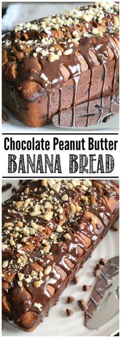 Easy chocolate peanut butter banana b0read with a chocolate glaze. My favorite banana bread recipe!
