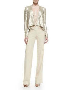 Long-Sleeve Cozy Leather Jacket, Sleeveless V-Neck Blouse w/ Cascading Ruffle & High-Waisted Crepe Trousers by Donna Karan at Neiman Marcus. (the trousers, not the tacky coat)
