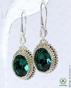 """Серьги """"Brilliance 2"""" - тёмно-зелёный,изумрудный,Сваровски,swarovski,кристаллы"""