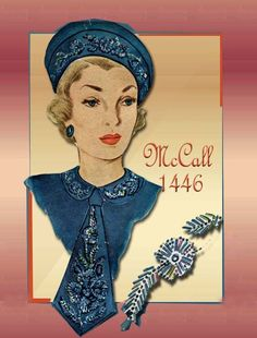 McCall 1446-Jaunty beret, collar and tie with beaded embroidery.
