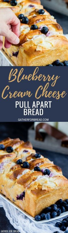 Blueberry Cream Cheese Pull Apart Bread - Delicious homemade pull apart bread is made with homemade dough, stuffed with cream cheese and studded with fresh blueberries. A summer favorite for berry lovers.