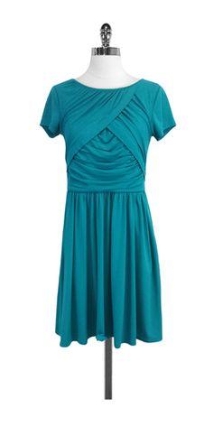 Ellen Tracy Teal Short Sleeve Dress