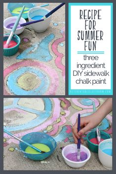 Sidewalk chalk paint - a diy recipe summer! sidewalk chalk p Scout Activities, Craft Activities For Kids, Camping Activities, Summer Activities, Preschool Science, Toddler Activities, Diy And Crafts Sewing, Crafts For Girls, Kids Crafts
