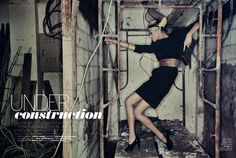 model, High Fashion, editorial, Industrail, Photo shoot, warehouse, abandon factory, gown, fashion gown, Makeup