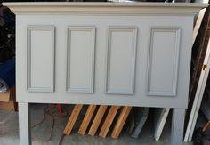 Queen Size Door Headboard Made With a Slab Door - Painted Chelsea Gray