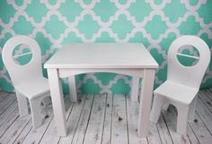 Solid Wood Kids Table and Chair Set by TimelessTimberz on Etsy