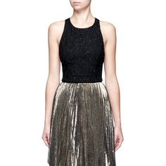 Alice + Olivia 'Joel' swirl embellished cropped top ($440) ❤ liked on Polyvore featuring tops, black, sequin crop top, embellished tops, sequin top, beaded crop tops and beaded sequin tops
