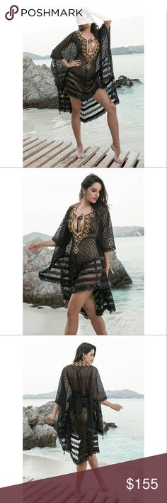 Beach kaftan/ cover up FABRICSilk, Georgette COLORBlack, Gold WORKEmbroidery, Hand Work TYPE:Beach Kaftan.                                                                         NOTE: this is made to order and it will be Ship out in 6-10 business days Swim Coverups