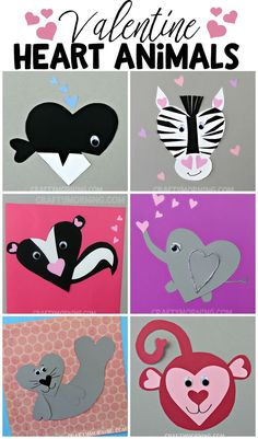 Heart shape valentine animal crafts for the kids to make on Valentines day! You can find an orca whale zebra elephant skunk seal monkey bear and much much more! Valentine's Day Crafts For Kids, Valentine Crafts For Kids, Animal Crafts For Kids, Valentines Day Activities, Craft Activities, Preschool Crafts, Children Crafts, Valentine Ideas, Valentines Crafts For Kindergarten