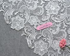 Classic Chic Lace Fabric hollowed embroidery by by xoxoDeethena Embroidery Hoop Crafts, Embroidery Leaf, Hand Embroidery Designs, Wedding Embroidery, Lace Weddings, Wedding Lace, Wedding Flowers, Wedding Dresses, White Lace Fabric