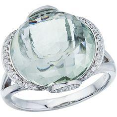 14K White Gold Green Amethyst and Diamond Dome Ring (CM-RM2841W-GA)