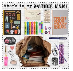 """""""What's in My School Bag"""" by nansg ❤ liked on Polyvore featuring interior, interiors, interior design, home, home decor, interior decorating, Vera Bradley, Dot & Bo, Kate Spade and COMPENDIUM"""
