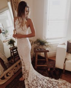 WD33 Mermaid Lace Backless Long Wedding Dresses,Wedding Dress Custom Made Wedding Gown,