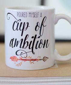 Cup of Ambition Coffee Mug Watercolor Arrow Mug by PrettyPlusPaper