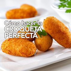 Homemade traditional Spanish croquettes or croquetas on a white plate with fork. Chicken Croquettes, Croquettes Recipe, Tapas Recipes, Cuban Recipes, Tapas Food, Easy Eat, Spanish Food, Dinner Dishes, Food To Make