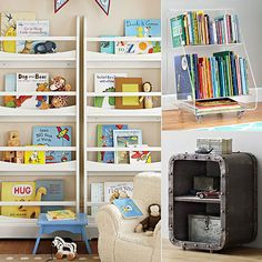 8 Book Storage Solutions For Small Kid Spaces - some of these ideas are really expensive, but I really like the bookshelf.