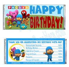 POCOYO Birthday GENERIC Candy Wrapper Labels by PartyOverHereEtsy, $14.99