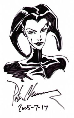 Aeon Flux Head Shot Sketch - Peter Chung Comic Art