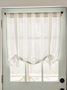 These DIY tie-up curtains are a super easy sewing project and a very affordable window treatment option for your exterior doors or small windows! #under10dollars #tieupshades Tablecloth Curtains, Tie Up Curtains, White Curtains, Panel Curtains, Small Window Treatments, Window Coverings, Small Doors, Small Windows, Small Door Window Curtains