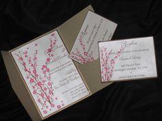 Cherry Blossom Wedding Invitation- love this style pocket