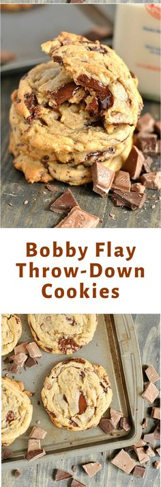 You'll fall in love with these melty pools of dark and milk chocolate in Bobby Flay's throw-down chocolate chip cookies! Related posts:The Best Homemade Chocolate Chip CookiesBanana Chocolate Chip CookiesPerfect Chocolate Chip Cookies Dessert Oreo, Cookie Desserts, Just Desserts, Cookie Recipes, Eat Dessert First, Delicious Desserts, Dessert Recipes, Yummy Food, Chocolate Chip Cookies