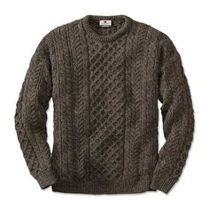 Cable knit crew neck sweater.