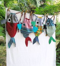 Along with my Fish friend - Drawstring backpack for children- Nursery - Made to order by LaGagiandra on Etsy Fabric Crafts, Sewing Crafts, Sewing Projects, Craft Projects, Diy Couture, Creation Couture, Kids Bags, Sewing For Kids, Sewing Hacks