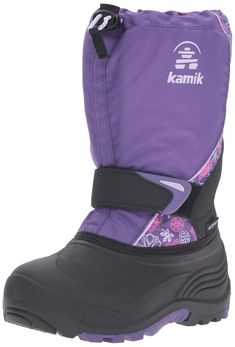 Kamik Kids' Snow Boot, Purple, 6 M US Big Kid: 100 percent waterproof shell with removable liner and comfort rated to Boys Snow Boots, Rain Boots, Boy Fashion, Fashion Shoes, Childrens Shoes, Boys Shoes, Shoe Collection, Big Kids, Black Boots