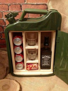 Love this mini bar made out of upcycled petrol canister
