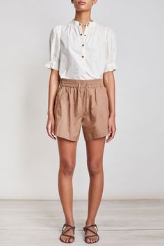 Plus Size 16 to 32 Capsule WHITE Linen Blend Ribbed Waistband Slouch Shorts