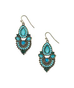 Look at this Silvertone & Turquoise Abstract Drop Earrings on #zulily today!