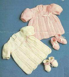 baby dress vintage knitting pattern PDF by Ellisadine on Etsy