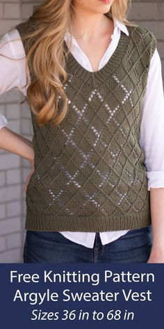 """Free knitting pattern for pullover vest that combines cables and lace for a modern take on a classic argyle style. Sizes Finished Bust/Chest Circumference: 36, (40, 44, 48, 52), (56, 60, 64, 68)"""". DK weight yarn. Web pattern is free. A printable pdf is available on Etsy. Designed by Kaitlin Barthold. Knit is also available. Web Patterns, Knitting Patterns Free, Free Knitting, Argyle Sweater Vest, Knit Vest Pattern, Dk Weight Yarn, Crochet Top, Pullover, Stitch"""