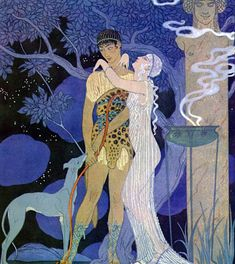 "George Barbier ""Phaedra and Hippolytus"" (""Personnages de Comédie"", by G.Barbier, Meynial,1922)"