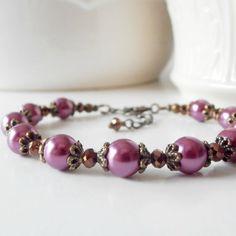 Plum Bridal Jewelry Purple Pearl Bridesmaid Bracelets Antiqued Wedding Jewelry Vintage Style Plum Bridesmaid Jewellery Handmade