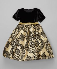 This Black & Gold Damask Dress - Infant, Toddler & Girls is perfect! #zulilyfinds