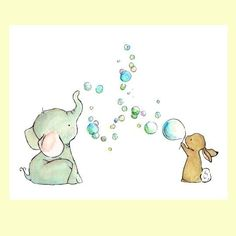 Nursery Art Bubble Party 8x10 Art Print by trafalgarssquare, $20.00