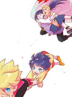 Naruto, Bolt, Himawari and Hinata. Yep, this is how his dysfunctional, crazy family would be.