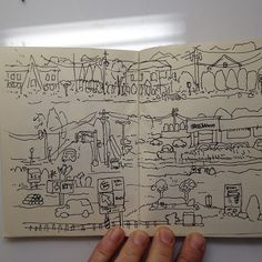 crazygon:  Driving on route 45 from Chestnut Ridge NY to Montvale NJ #sketchbook #ink #landscape