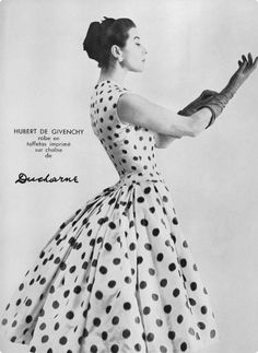 The scarlet coloured polka dot fabric I have will lend itself well to this 1950s Givenchy dress. Assuming I can design it off this picture.