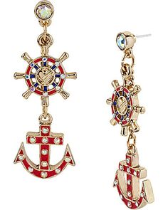 Betsey Johnson - ANCHOR WHEEL DROP EARRING PINK