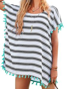 16476b7b45 Womens Striped Chiffon Swimwear Bikini Swim Beachwear Swimsuit Cover Up -  A-white Stripe - CA17YIHS9GL