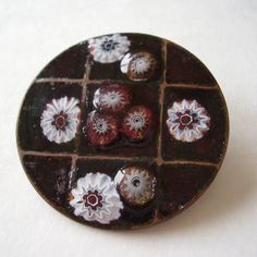 Brooch Glass Enamel with White & Red Millefiori Flower Canes