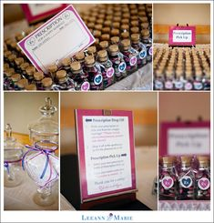 """Love the """"pharmacy""""! Perfect for people to write their """"prescription"""" to the couple, drop-off prescription in a jar/box, and pick up a wedding favor candy bottle. Should make it similar but with prescription labels on bottles"""