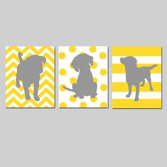Puppy Dog Trio - Set of Three 8x10 Prints - Kids Wall Art for Nursery - Chevron, Polka Dots, Stripes - Choose Your Colors - Yellow and Gray on Etsy, $55.00