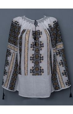 Romanian hand embroidered blouses - Romanian peasant blouses for sale. Bell Sleeves, Bell Sleeve Top, Peasant Blouse, Blouse Online, Embroidered Blouse, Blouses, Costume, Long Sleeve, Stuff To Buy