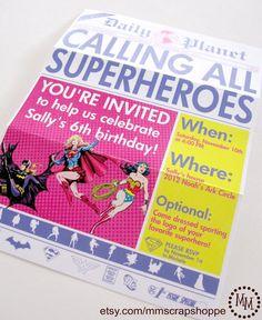 GIRLS Superhero Newspaper Custom PRINTABLE by MMScrapShoppe, $10.00